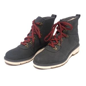 TIMBERLAND BOOTS dark blue suede burgundy laces
